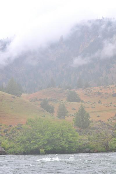 Day 3 - Very foggy with some rain, hiding the ridge walls around us.