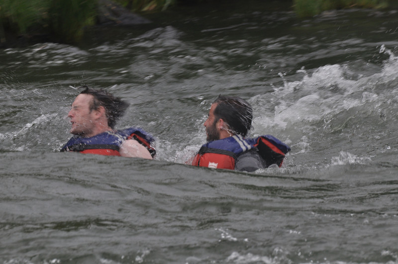 Swimming down the Class II rapids, another local recommendation