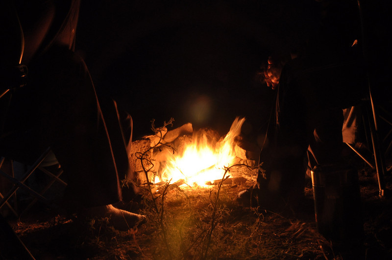 Sitting by the campfire