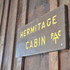 Sign on the front of the cabin