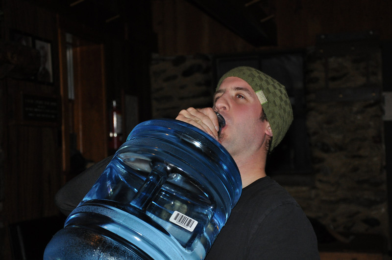 Thomas brought this ginormous water bottle, no need for the spring.