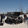 On the hike out Sunday morning we found the jeep, frozen in the snow, literally.  The gas lines were frozen and the jeep wouldn't start
