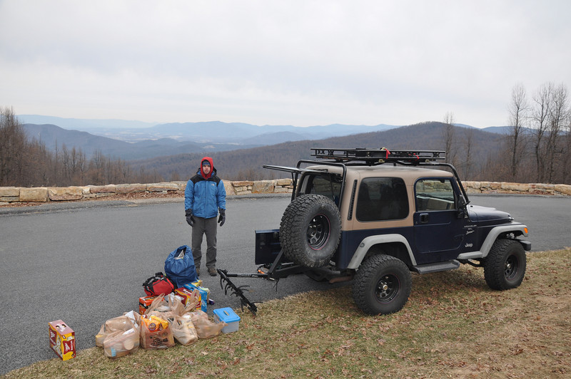 We arrived at the Eaton Hollow Overlook in Shenandoah on Friday morning.  The next 90 minutes were spent hiking all this food into the cabin.