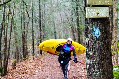 Daphnee Tuzlak hikes shuttle along the AT during a Thanksgiving run down the Housatonic in CT.