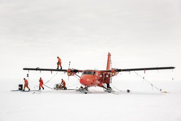 Refuelling Twin Otter at Sky Blu depot, Antarctica