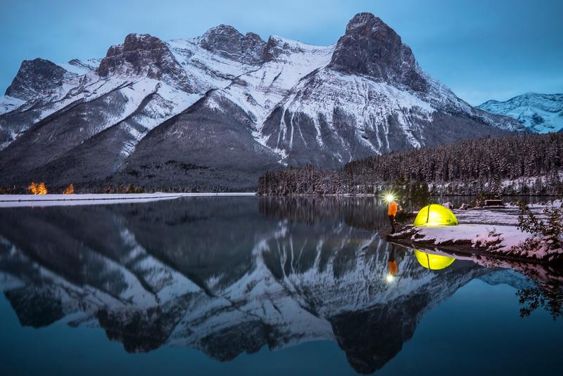 Setting up camp in Alberta