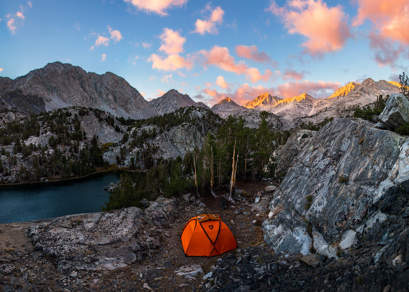 Camp at Sunrise in Little Lakes Valley