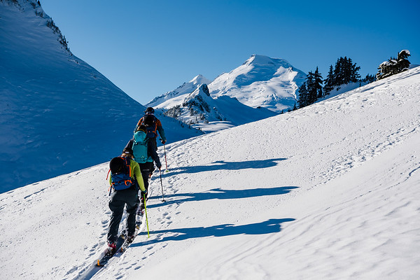 Adam Ü leads Gabriella Edebo and Tess Golling deep into the Mt Baker backcountry.