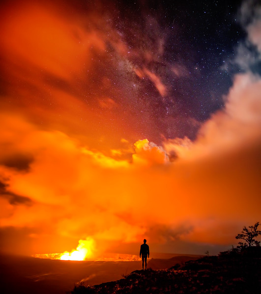 Glowing Kilauea Caldera under the Milky Way