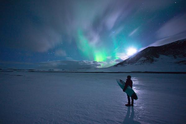 Northern Lights Surfer