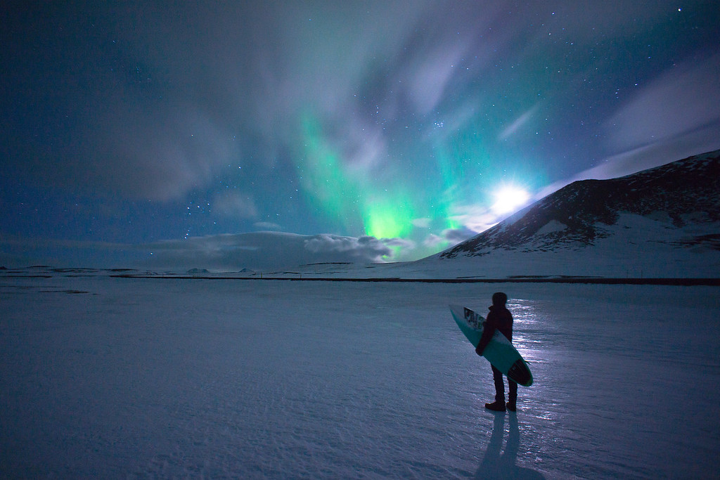 Northern Lights Surfer