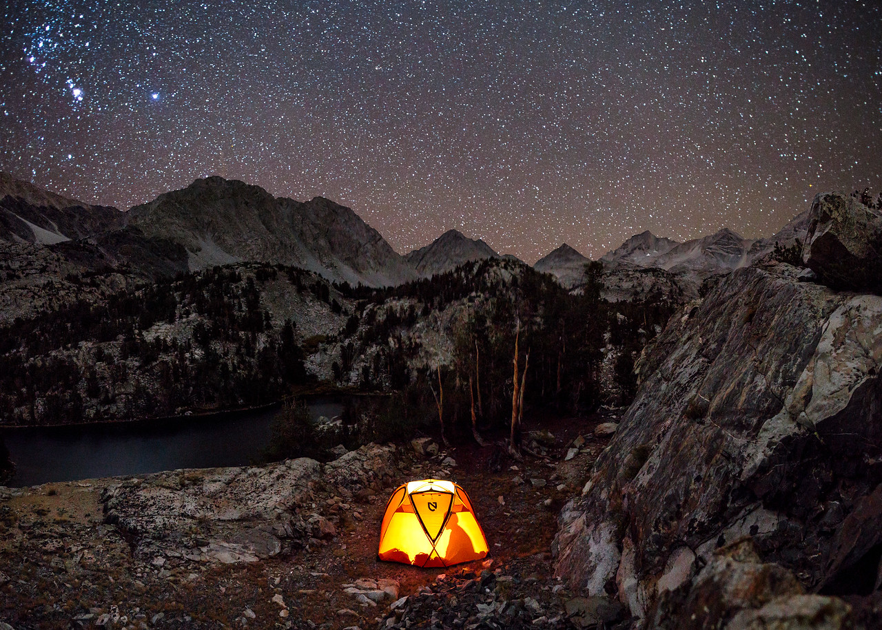 Camp at Night in Little Lakes Valley