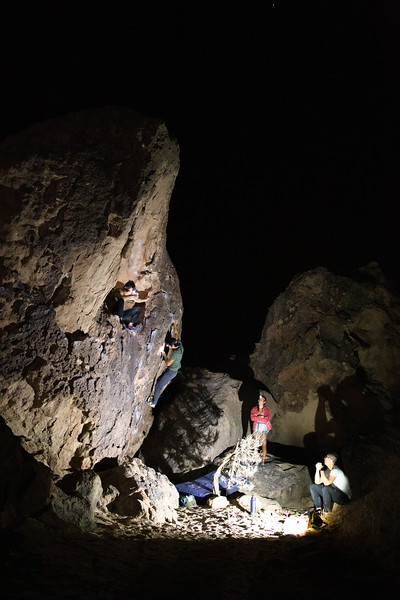 Nighttime fun on Strange Boulder (October 2020)