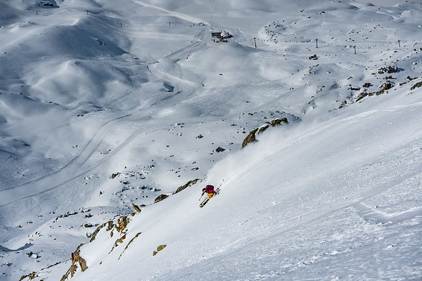 The steep terrain of Corvatsch is a freeride skiers dream come true. Nat Segal dreaming.