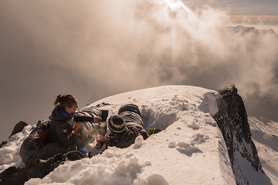 Julia Friisbol and Antoine Moineville near Grand Montets at sunset, Chamonix, France