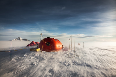 The communications and cooking 'Melon' Hut at Sky Blu, Antarctica