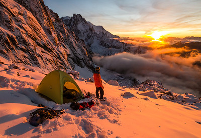 Tom Grant at a bivouac under the Drus, Chamonix