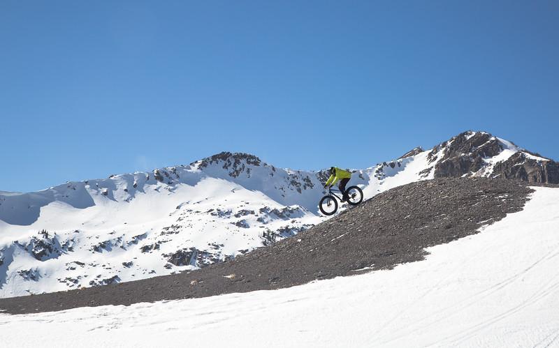 Winter Biking Under Blue Skies