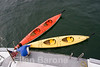 Preparing the sea kayaks aboard Safari Quest, Sea of Cortez, Baja California Sur, Mexico.