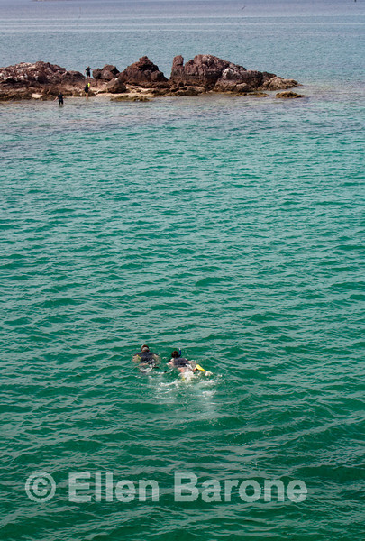 Snorklers off Isla San Jose, Sea of Cortez, Baja Sur, Mexico.