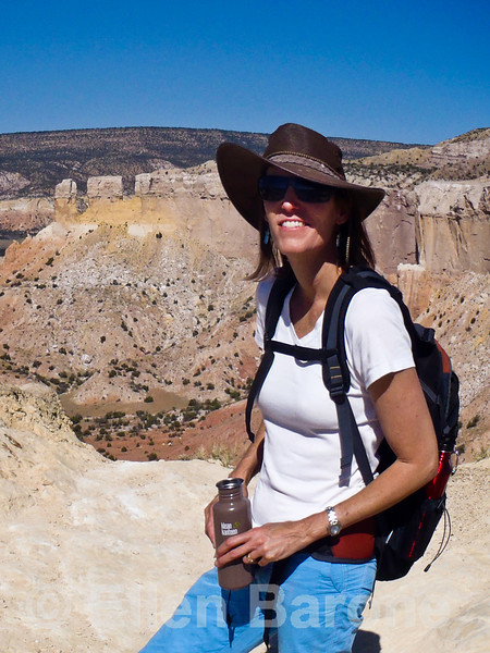 Wayfarers walk leader Monique Schoustra, view from Chimney Rock trail, Ghost Ranch, Abiquiu, New Mexico.