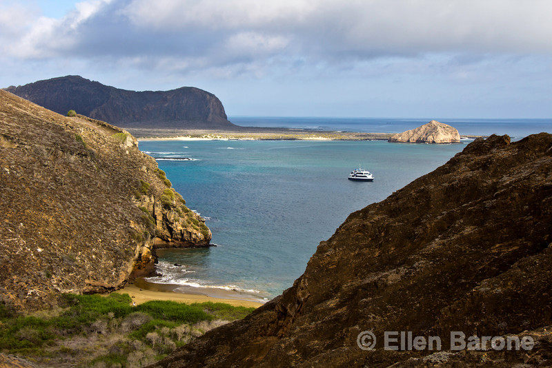 Motor yacht Letty at anchor off Punta Pitt, Isla San Christobal, Galapagos Islands, Ecuador.