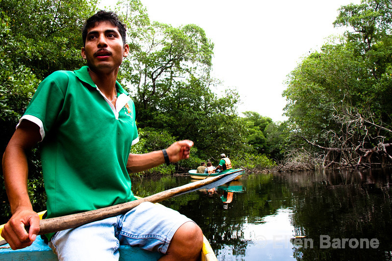 Nature guided mangrove boat tour, Madresal, a community-built eco-friendly beach camp Pacific Coast, Chiapas, Mexico.