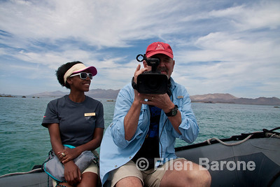 Expedition leader, Nitakuwa Barrett and cameraman Steve Essig, Sea of Cortez, Baja California, Mexico.