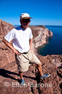 Safari Quest passenger Franklin Chu atop Isla Espiritu Santo, Sea of Cortez, Baja California, Mexico.