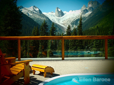 Bugaboo Lodge hot tub with mountain view, Heli-hiking vacation, Canadian Mountain Holidays, Canada.