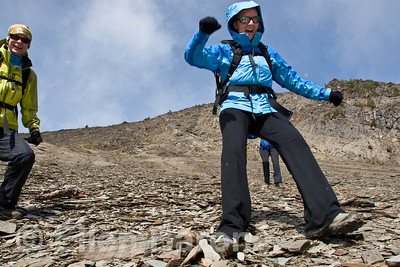 Scree running, hikers, Heli-hiking vacation, Canadian Mountain Holidays, Canada.