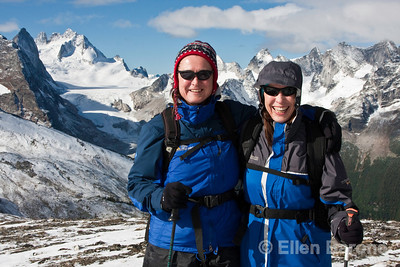 Hikers, Sisters, Heli-hiking vacation, Canadian Mountain Holidays, Canada.