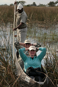 Kicking back for a mokoro boat ride, &Beyond Xaranna Okavango Delta Camp, Botswana