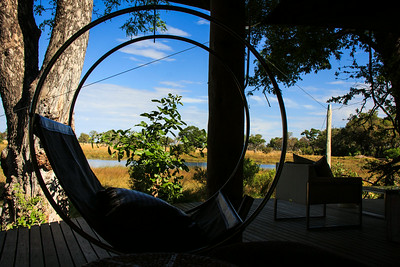 Design detail, circular swing chair, &Beyond Xaranna Okavango Delta Camp, Botswana.