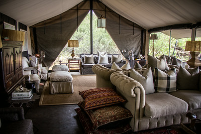 Tented lobby and common area, Machaba Camp, Okavango Delta, Khwai River region, Botswana, Africa.