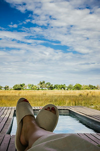 Relaxing pool side, luxury safari,&Beyond Xaranna Okavango Delta Camp, Botswana
