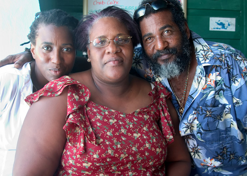 Owners of the Big Bamboo restaurant, Aubrey & Dianne Levons with Heather Wright, Loblolly Bay, North Shore, Anegada, British Virgin Islands (BVI), West Indies, Caribbean.