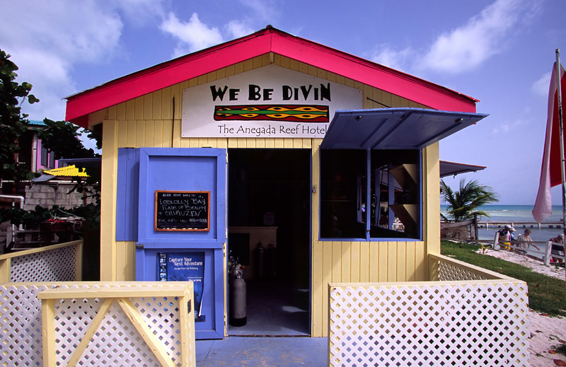 The colorful and cleverly named We Be Divin' dive shop at the Anegada Reef Hotel, Anegada, British Virgin Islands (BVI), West Indies, Caribbean