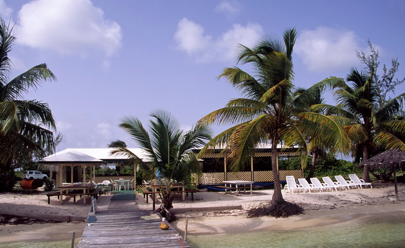 The Lobster Trap restaurant is popular with yachtmen for its grilled lobster dinners,  the Anchorage, Anegada, British Virgin Islands, West Indies, Caribbean.