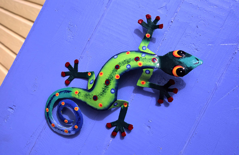 Colorful metal art geckos on display at Sue's Purple Turtle Boutique & Gifts, Anegada, British Virgin Islands (BVI), West Indies, Caribbean