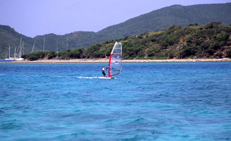 Wind surfer, Eustatia Sound off Prickly Pear island and Virgin Gorda, British Virgin Islands (BVI), West Indies, Caribbean.
