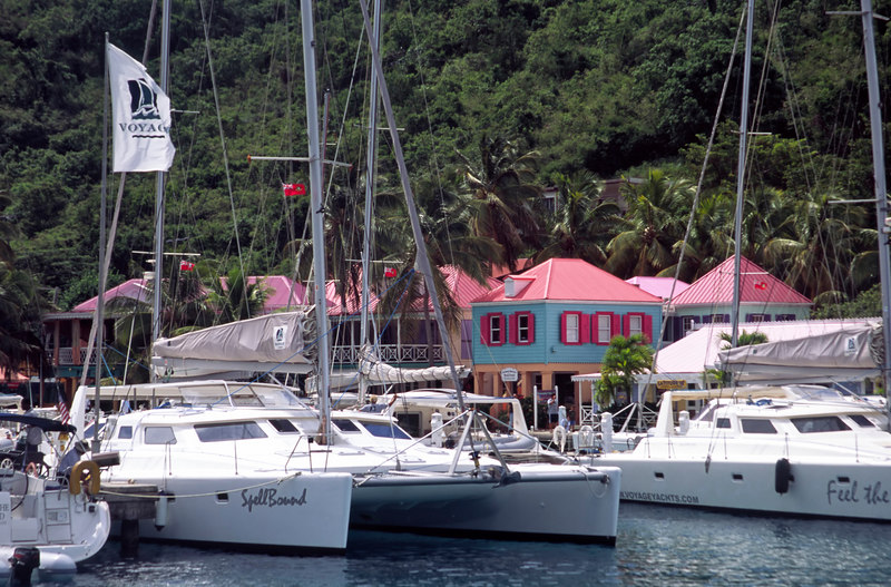 Colorful Soper's Hole Wharf & Marina, is the place for yachts to fuel and stock up on provisions and catch a bite to eat, Frenchman's Cay, West End, Tortola, British Virgin Islands (BVI), West Indies, Caribbean.