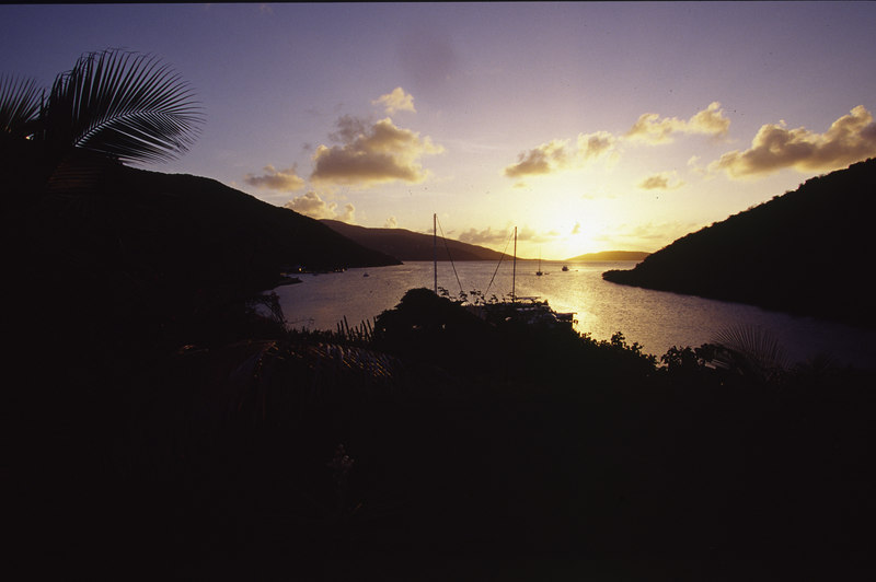 The magical beauty of Biras Creek at sunset, Virgin Gorda, British Virgin Islands, West Indies, Caribbean.
