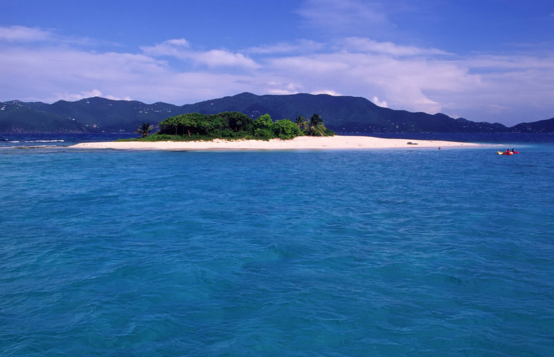 Sandy Cay, a small islet surrounded by turquoise water, fits the bill for desert island paradise, owned by Laurence Rockefeller, there is a botanical tour on the small path that encircles the island, east of Jost Van Dyke, British Virgin Islands (BVI), West Indies, Caribbean.
