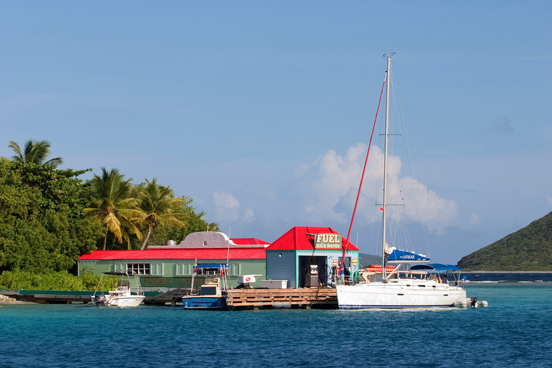 Pusser's Co. store on Marina Cay is a popular stop for yachts to refuel and purchase provisions such as Pussers famous rum, British Virgin Islands (BVI), West Indies, Caribbean.