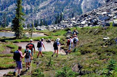 CMH hikers, Canadian Mountain Holidays, Helihiking, Bobbie Burns Lodge, Purcell Mountains, British Columbia, Canada