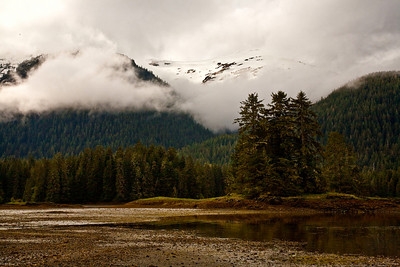 Misty mountain scenic, Bay of Pillars on Kuiu Island, Tongass National Forest, southeast Alaska, USA.