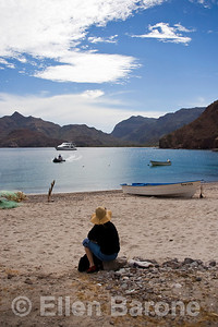 Safari Quest passengers enjoy a languid day at the beach off Puerto Agua Verde, Sea of Cortez, Baja California Sur, Mexico.