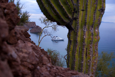 Safari Quest at anchor in Puerto Agua Verde, Sea of Cortez, Baja California Sur, Mexico.
