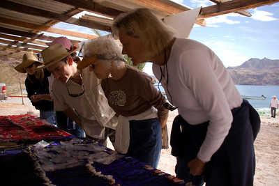 Safari Quest passengers shop for locally made jewelry and handicrafts at Puerto Agua Verde, Sea of Cortez, Baja California Sur, Mexico.